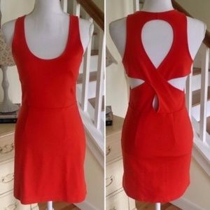 Silence + Noise Blood Red Orange Cut Out Dress